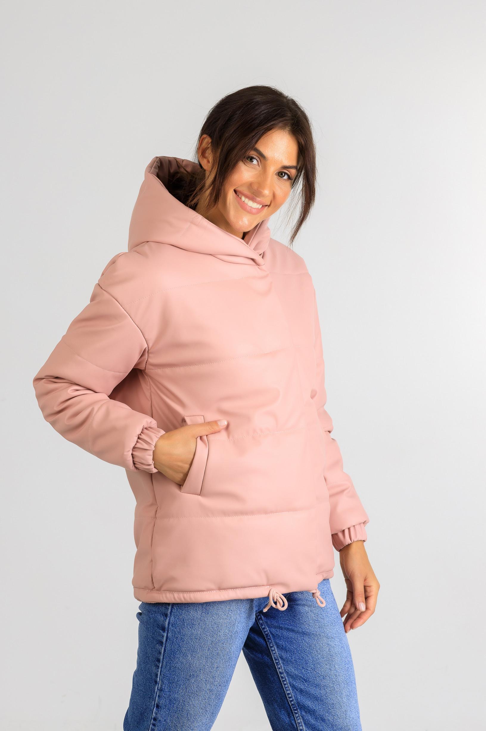 Демисезонная женская куртка из эко-кожи Тина розового цвета