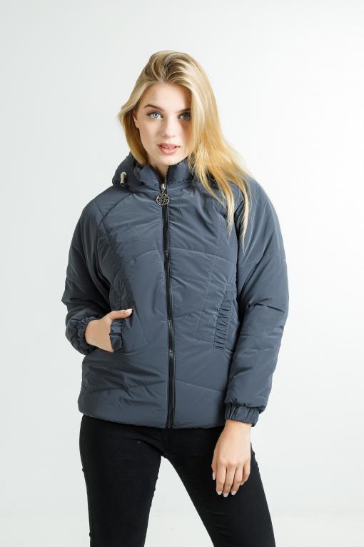Демисезонная женская куртка Берри+ из велюровой плащёвки синего цвета