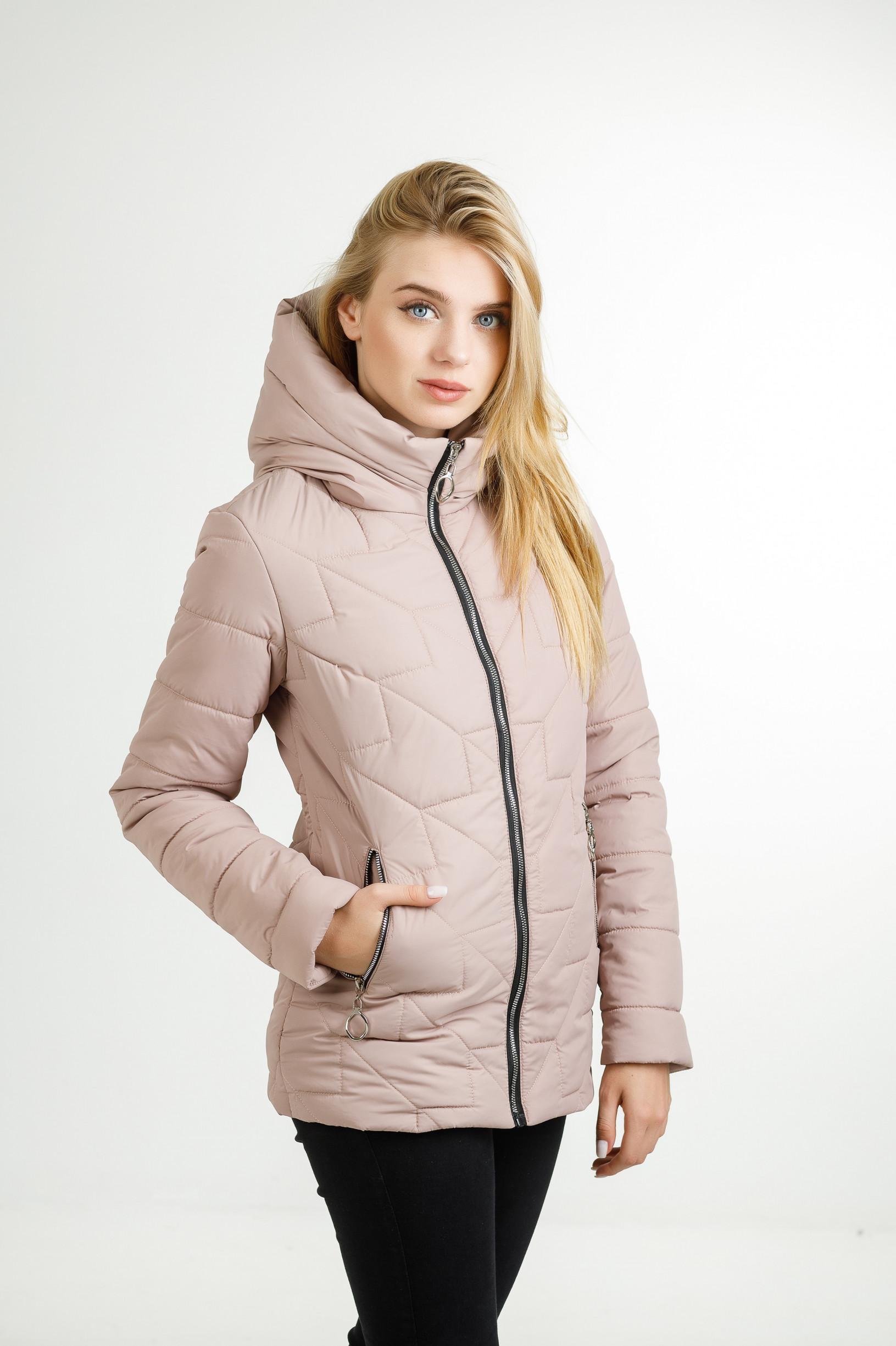Демисезонная женская удлинённая куртка Руби розового цвета