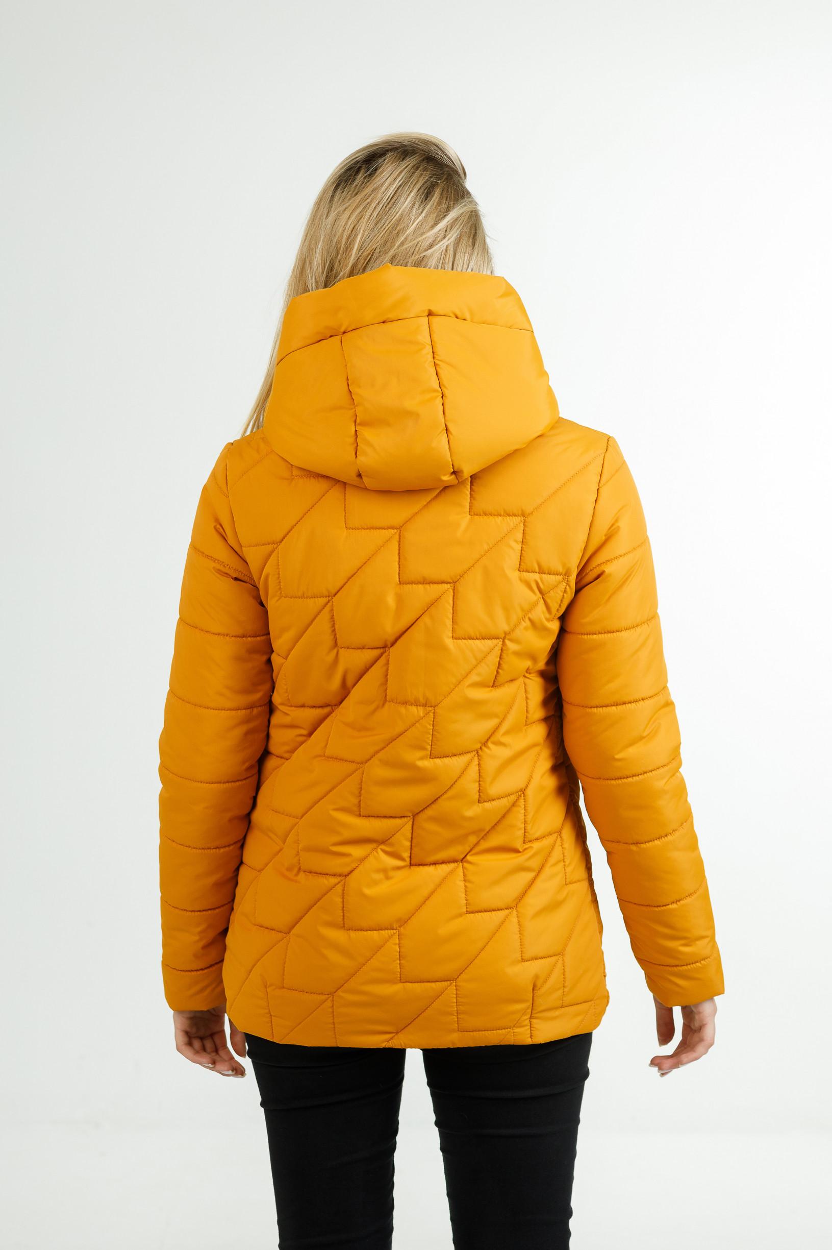 Демисезонная женская удлинённая куртка Руби жёлтого цвета