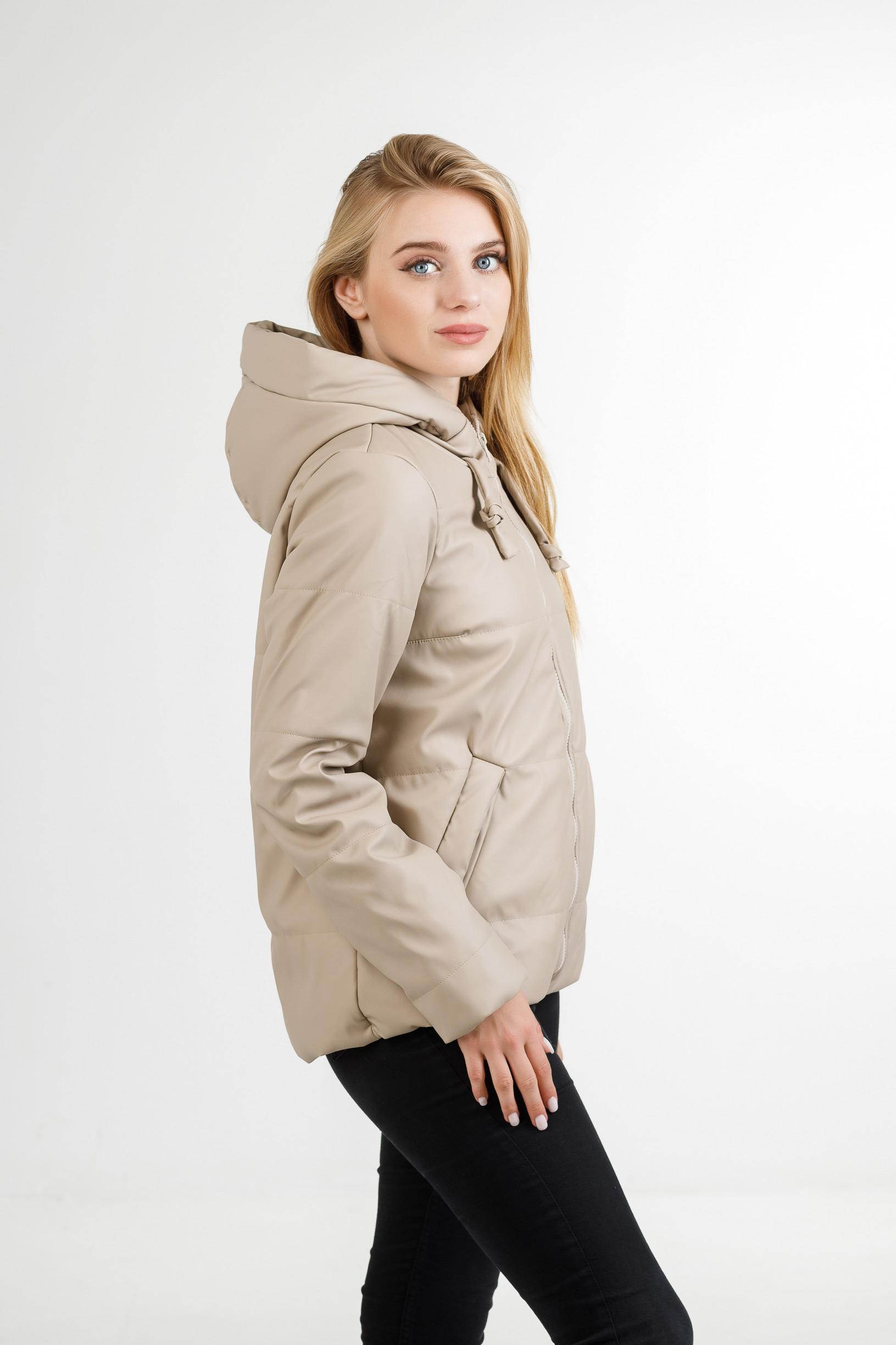 Полуспортивная демисезонная куртка Тутси из эко-кожи бежевая