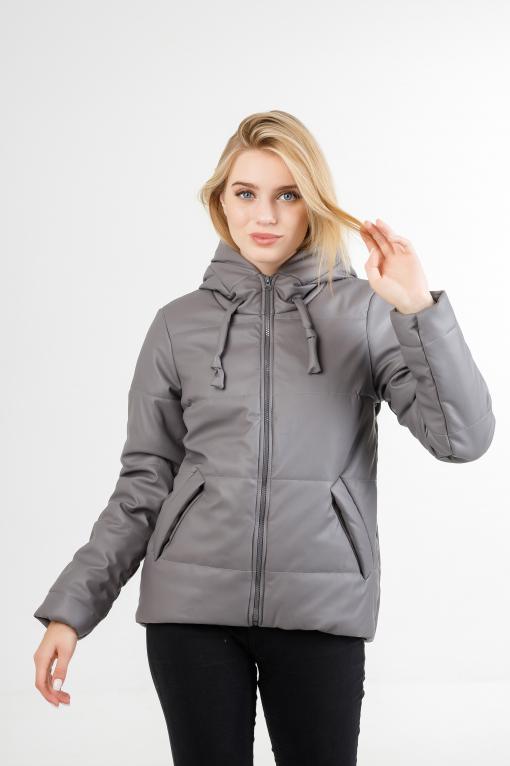 Полуспортивная демисезонная куртка Тутси из эко-кожи серая