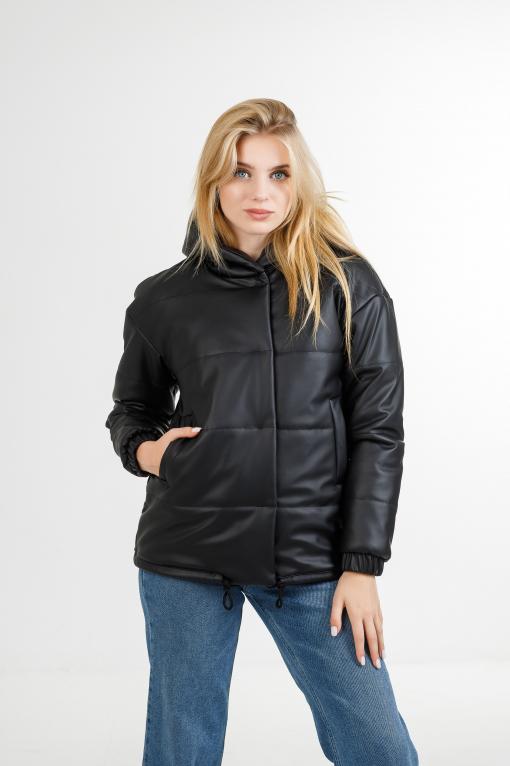 Демисезонная женская  куртка из эко-кожи Тина чёрного цвета