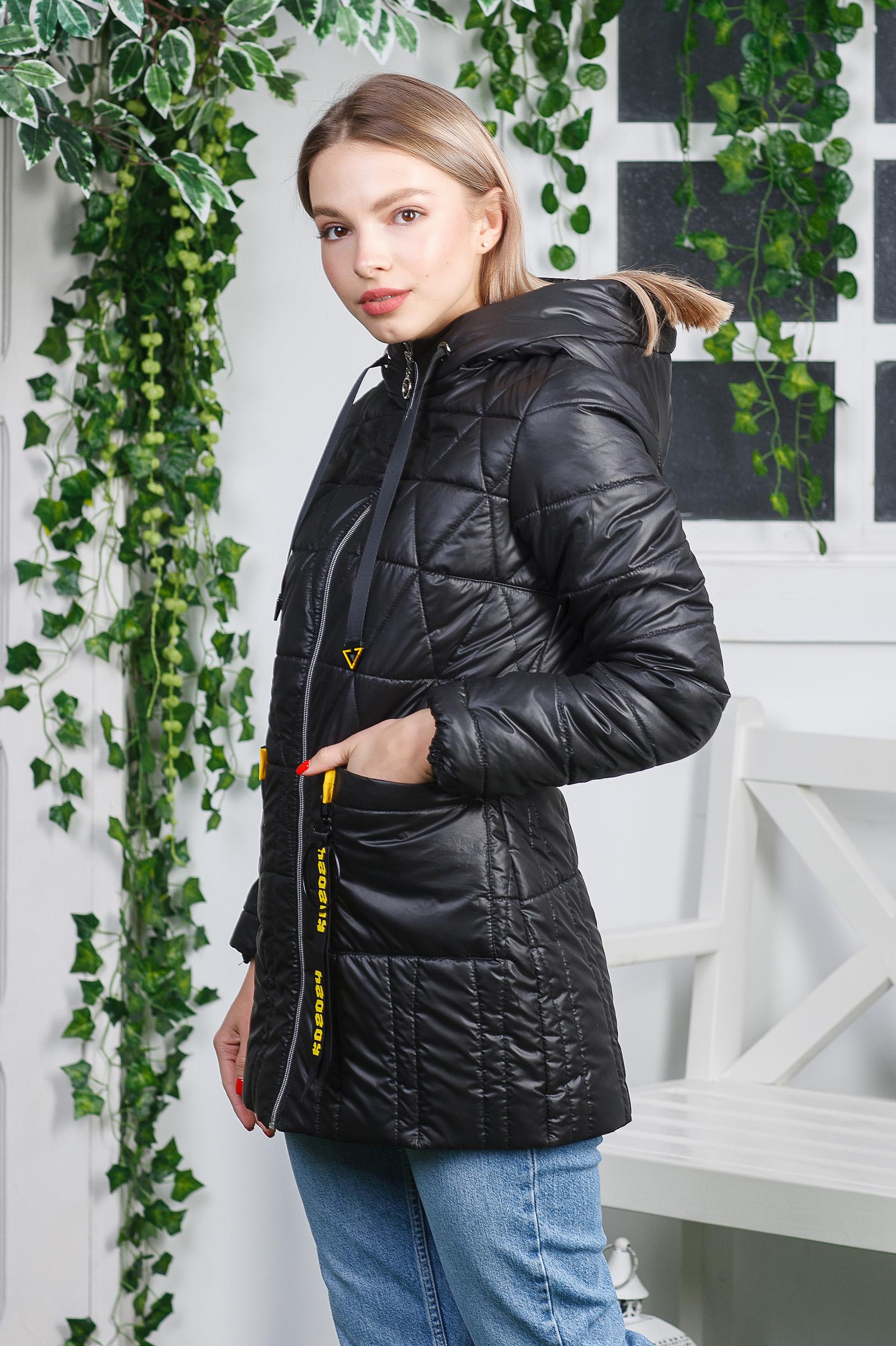 Весенняя куртка-плащ Римма чёрного цвета