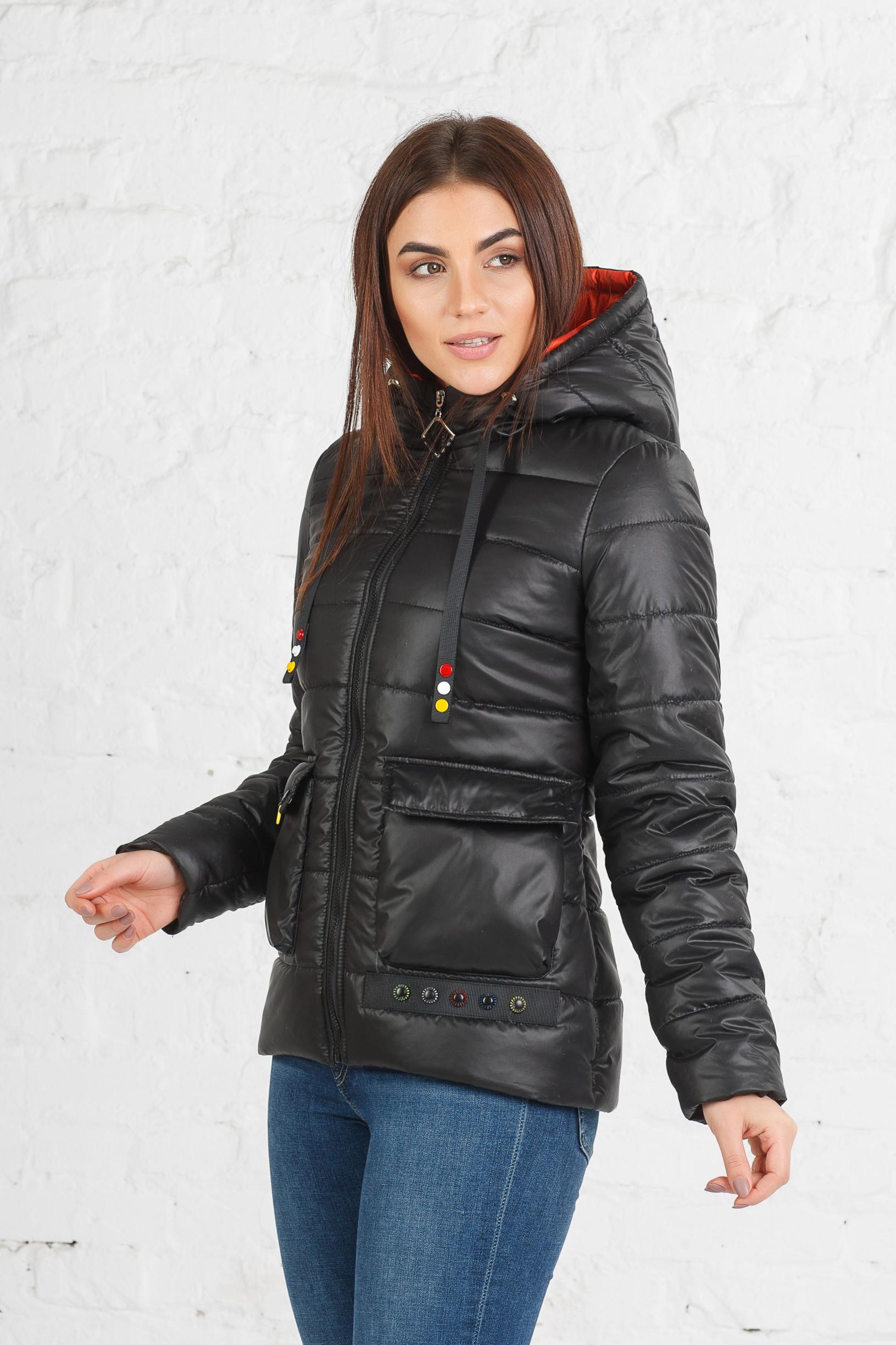 Куртка полуприлегающая Адель чёрного цвета
