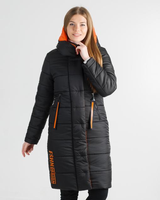 Зимнее молодёжное пальто чёрное с оранжевим Шерон