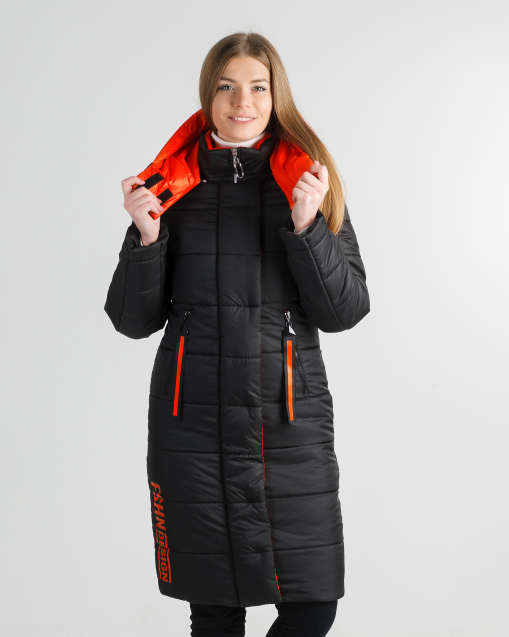 Зимнее молодёжное пальто чёрное с красным Шерон