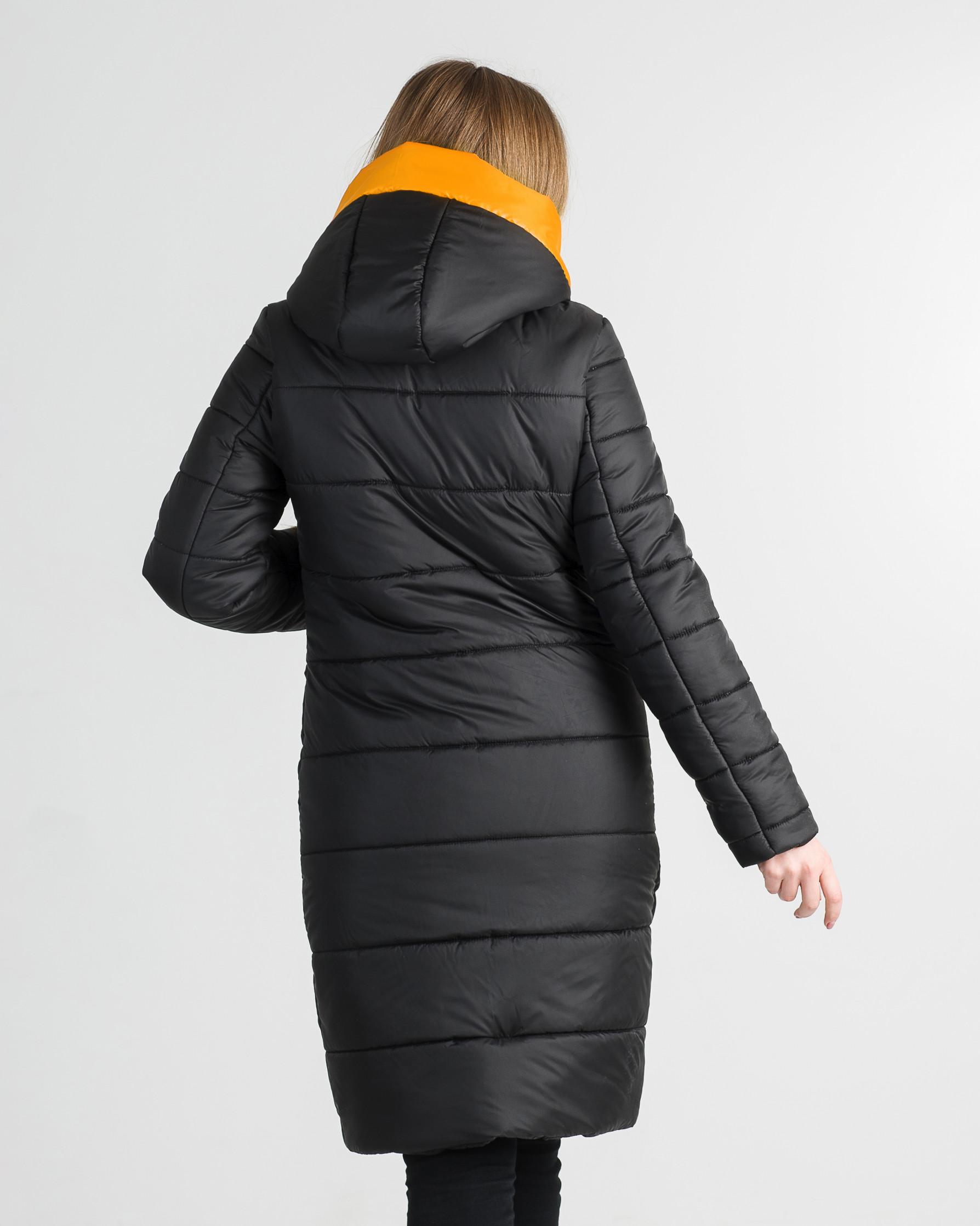 Зимнее молодёжное пальто чёрное с жёлтым Шерон