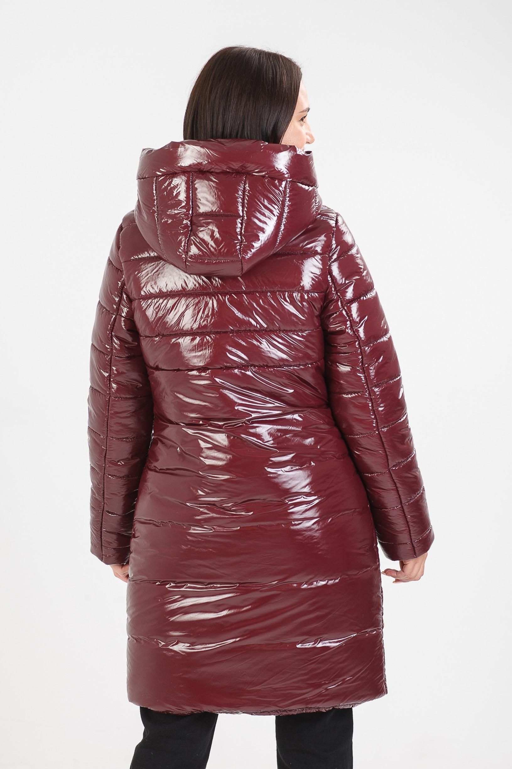 Зимнее пальто бордового цвета Ассоль