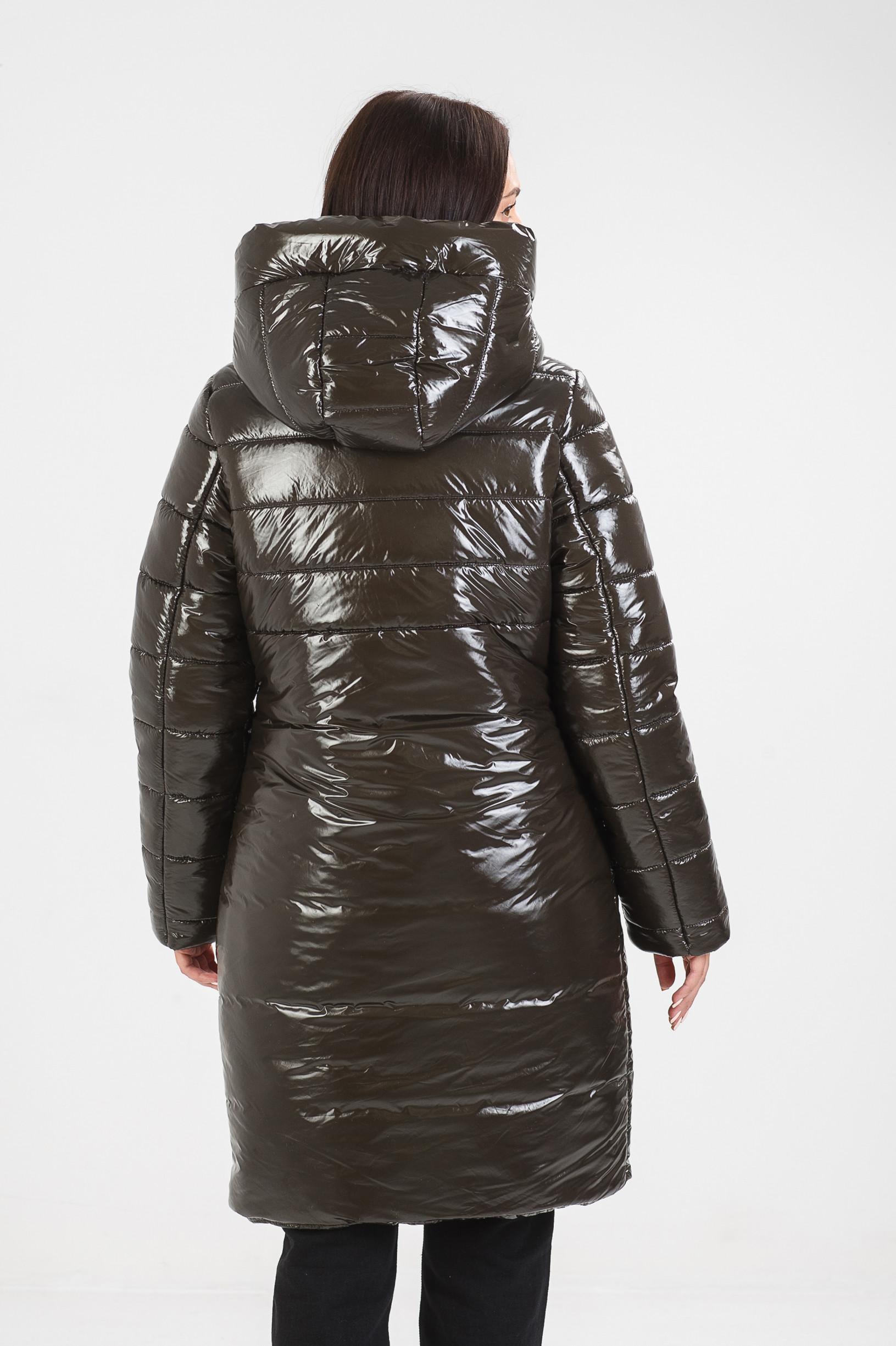Зимнее пальто тёмно зелёного цвета Ассоль