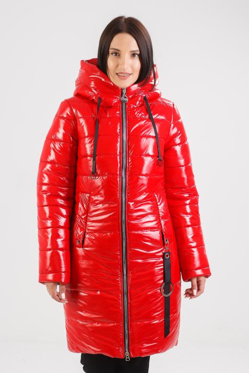 Зимнее пальто красного цвета Ассоль
