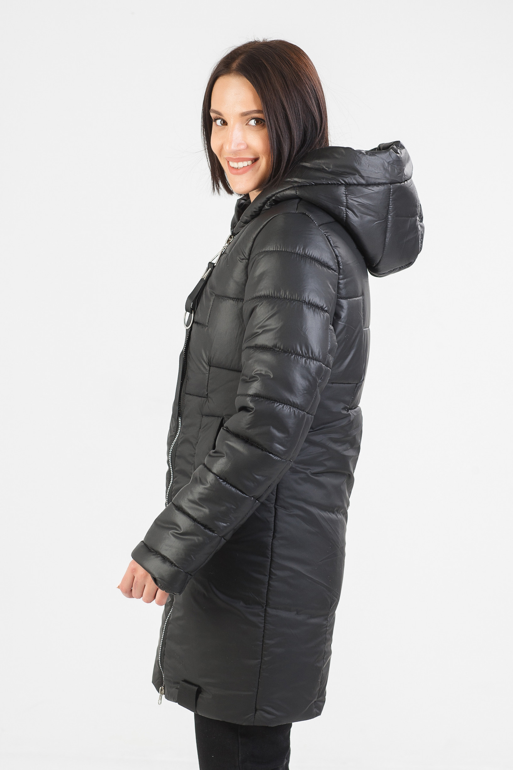 Зимняя удлинённая чёрная куртка Жако