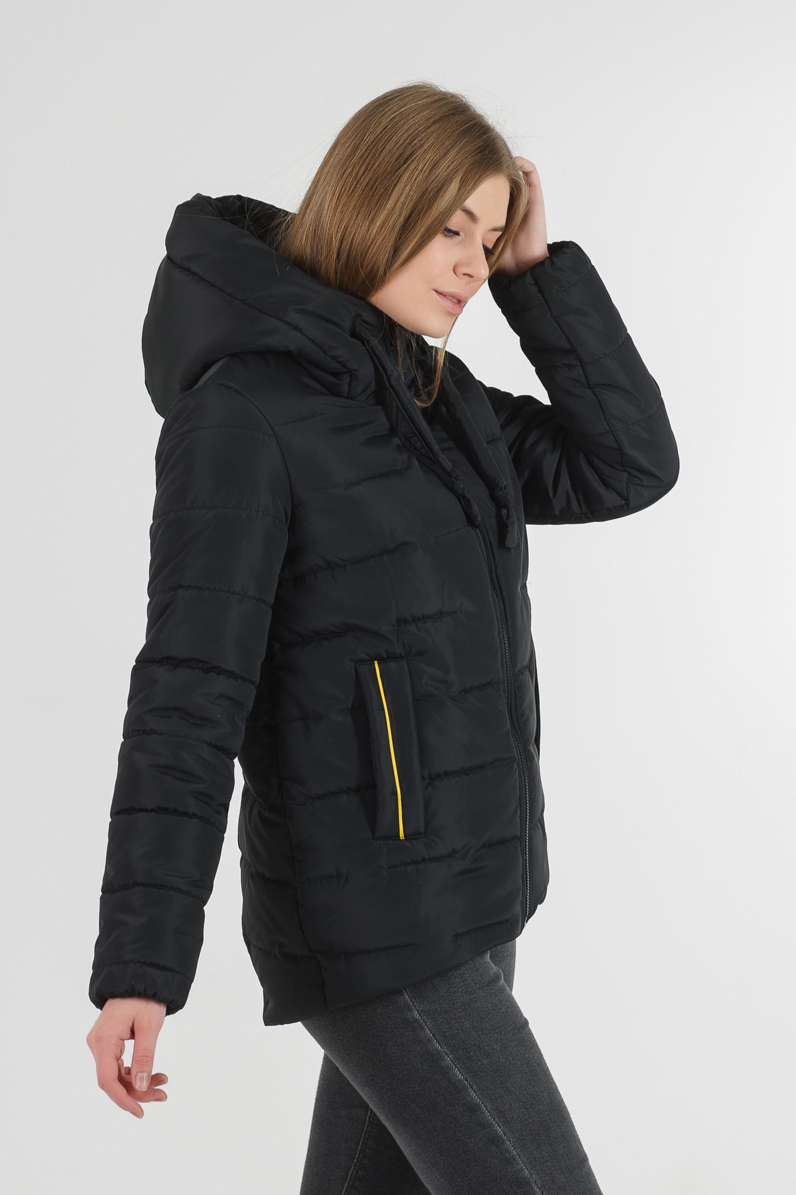 Зимняя молодёжная куртка Синди чёрного цвета