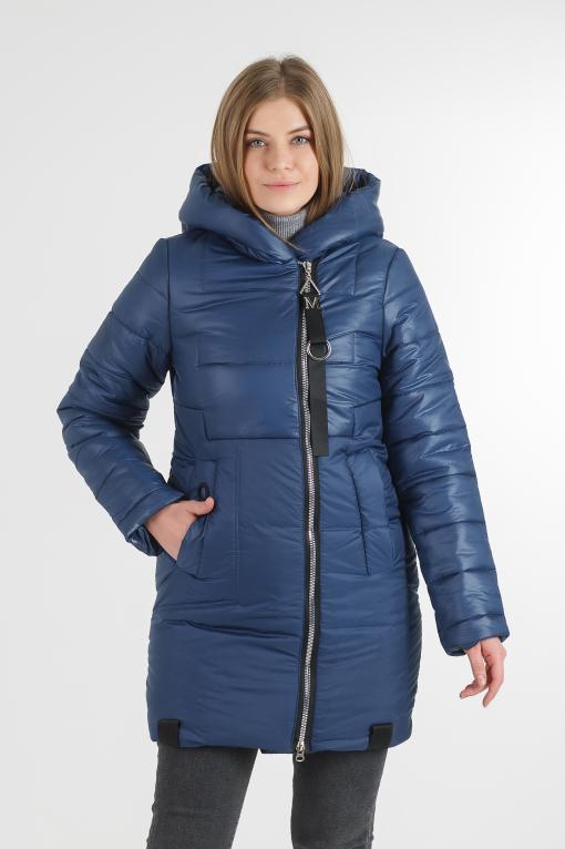 Зимняя удлинённая синяя куртка Жако