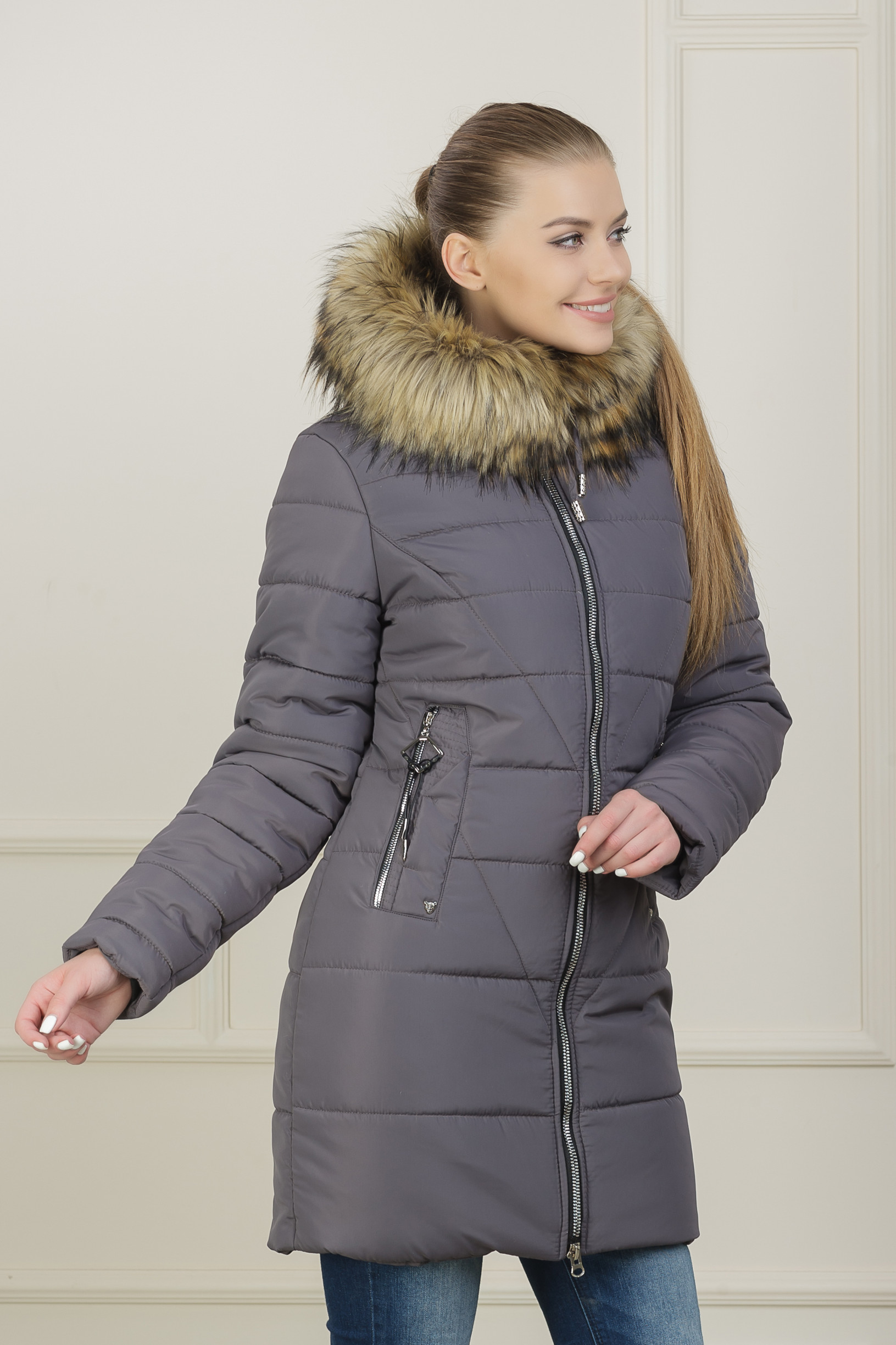 Зимняя куртка для девушки Аманда капучино
