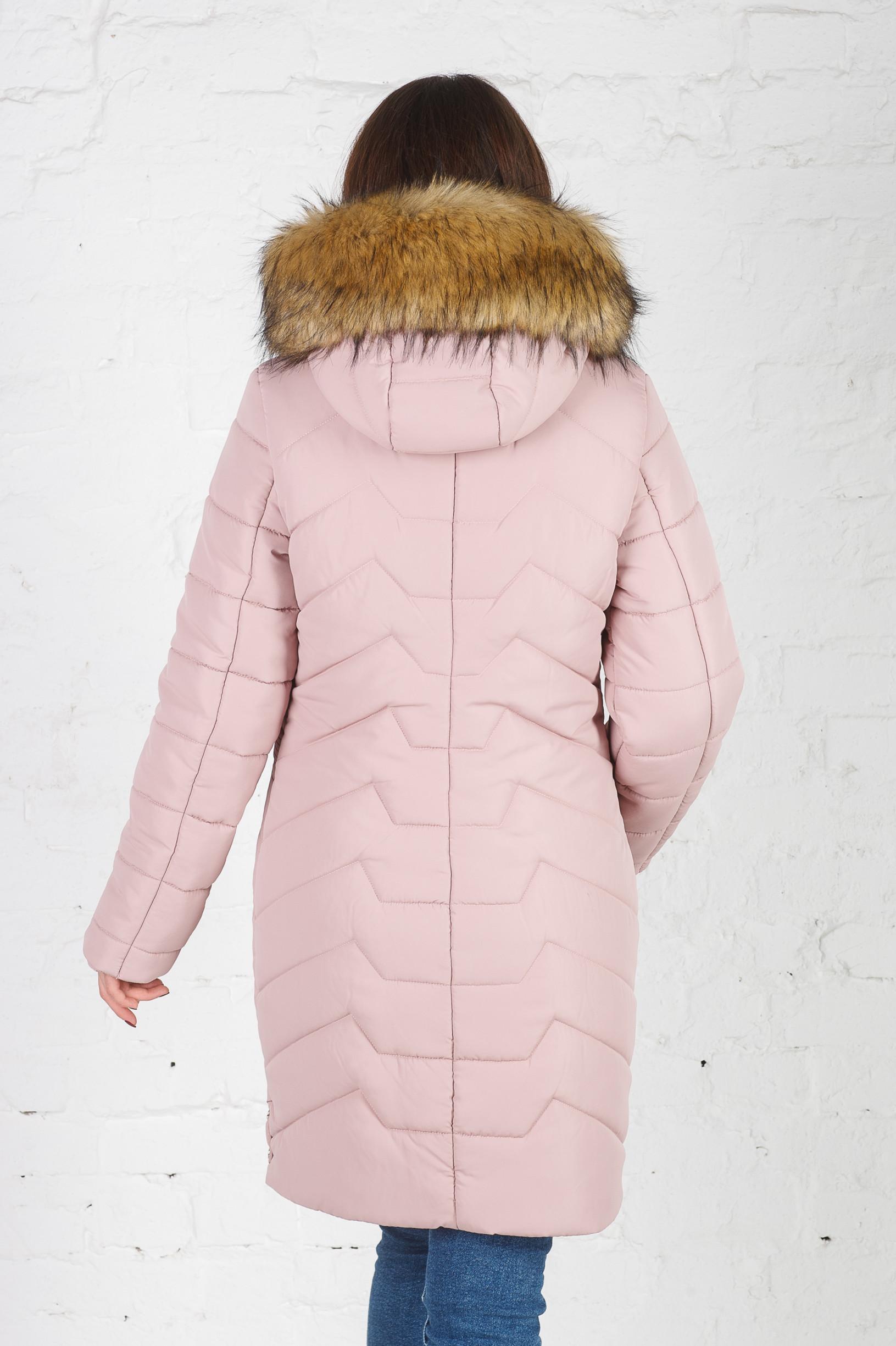 Зимняя удлинённая куртка для девушки Кети пудра