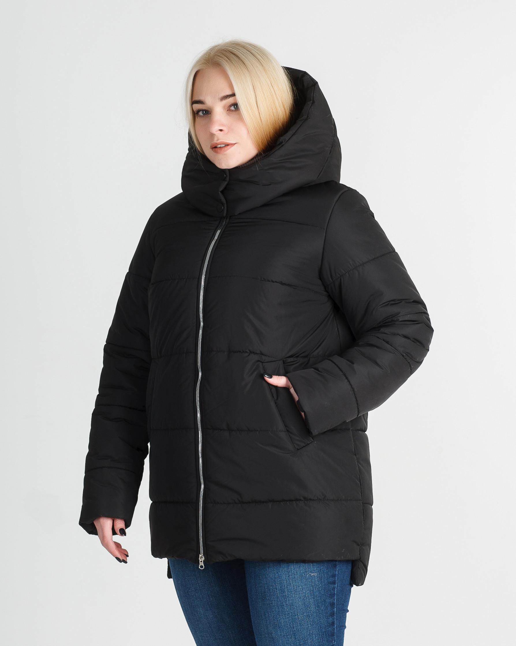 Зимняя удлинённая чёрная женская куртка Линда