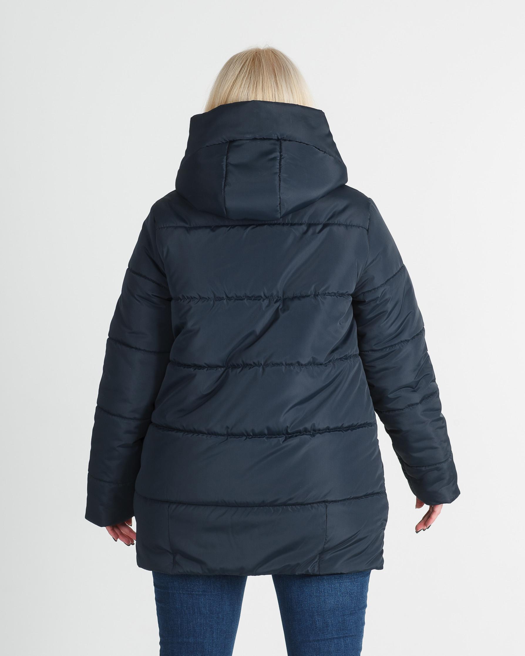 Зимняя удлинённая тёмно синяя женская куртка Линда