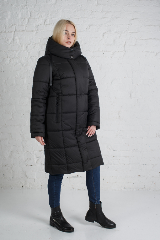 Зимнее чёрное пальто Тала