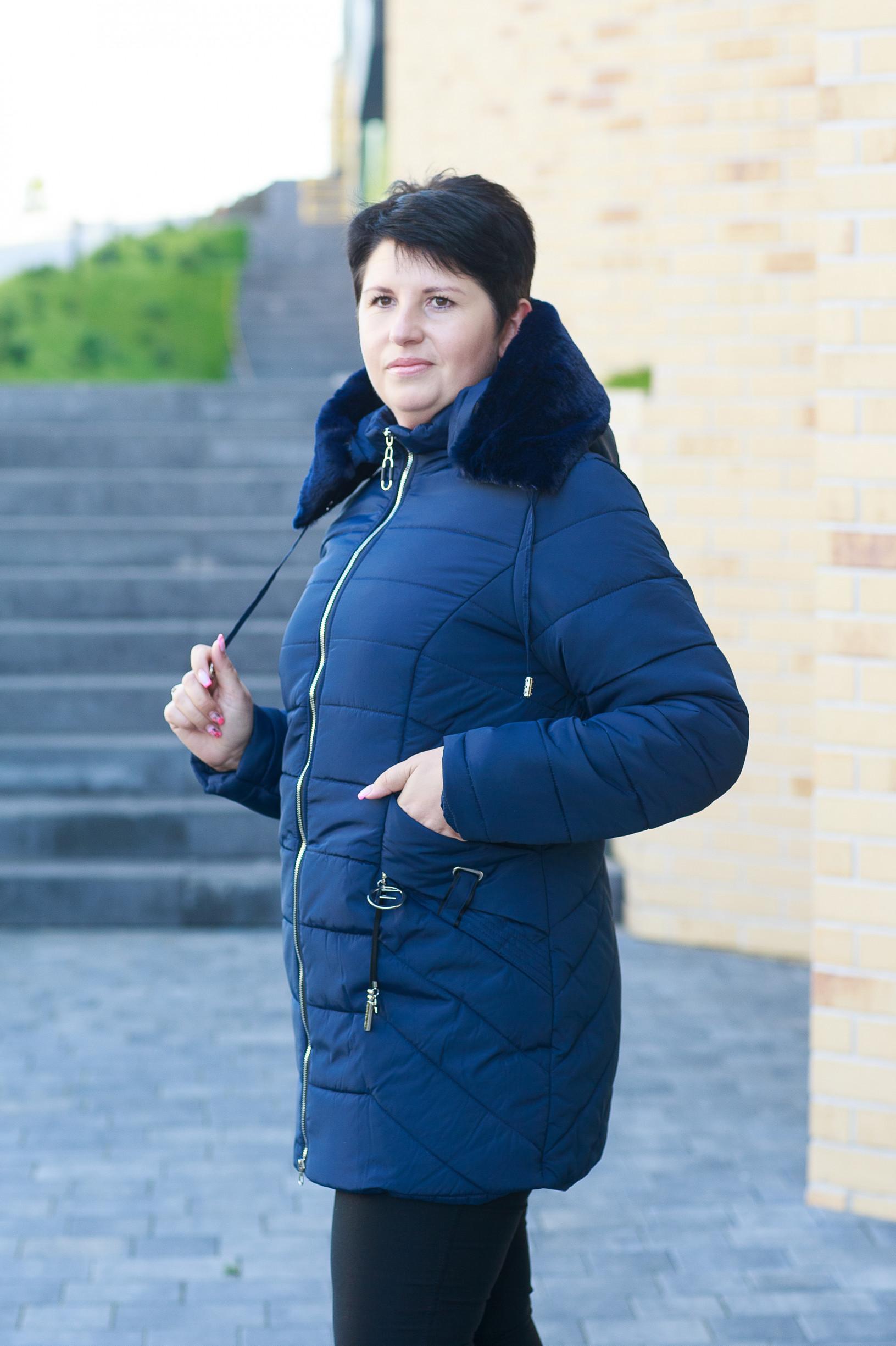 Синяя зимняя удлинённая женская куртка Мегги