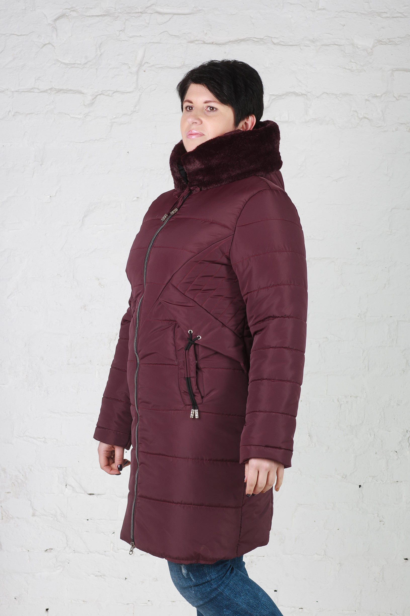 Элегантная женская зимняя куртка Мери бордо