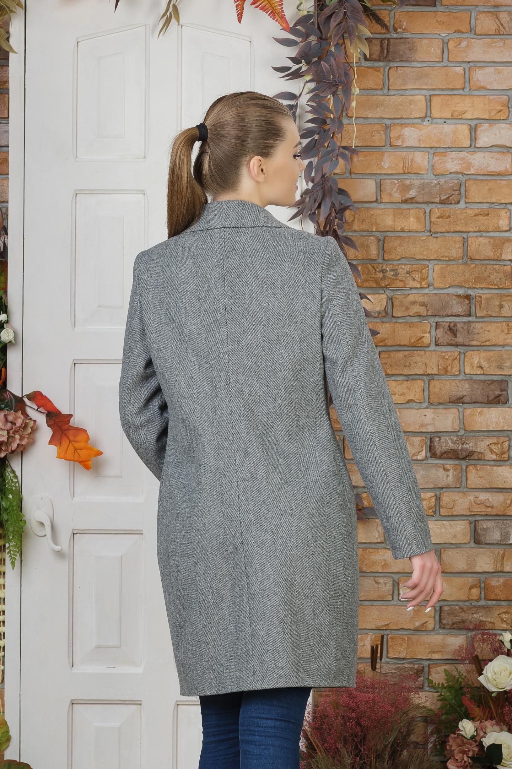 Пальто под пояс Виола серое