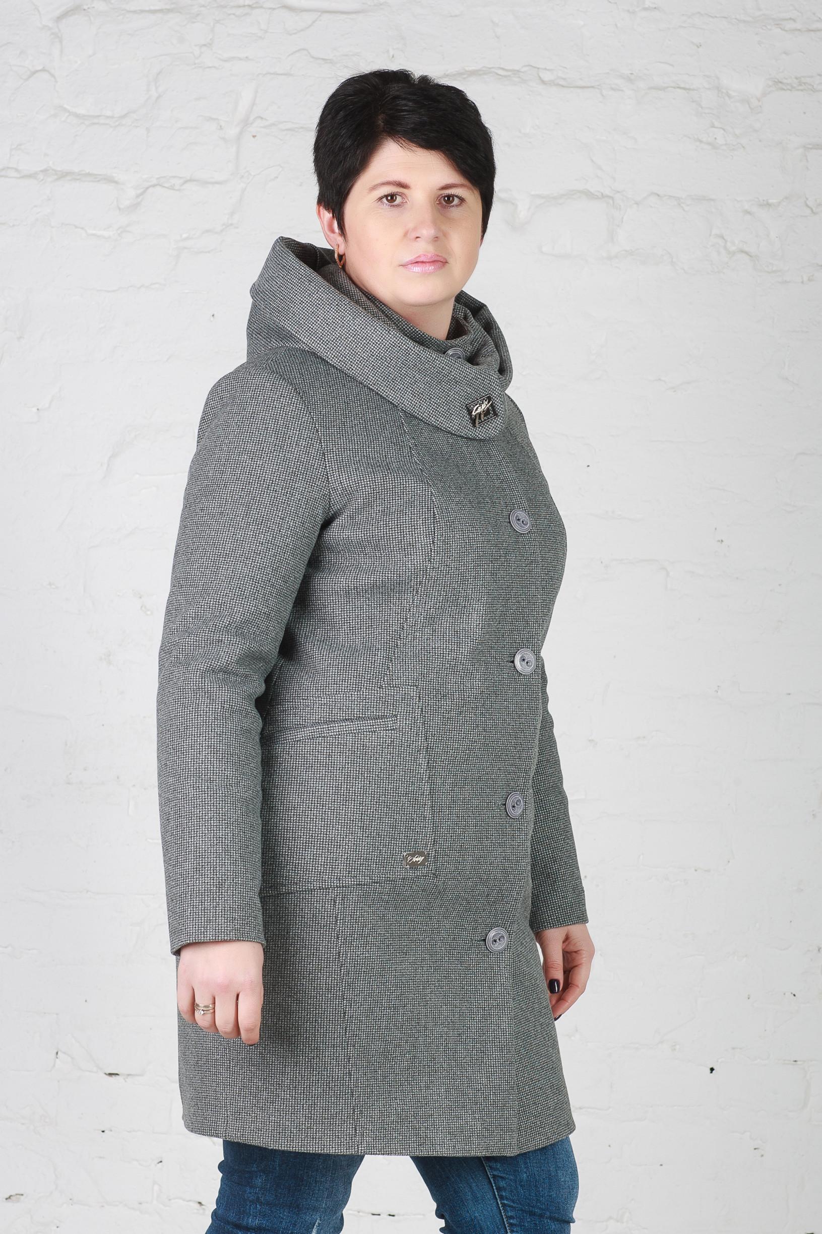Женское утеплённое пальто Мери серое пиксель