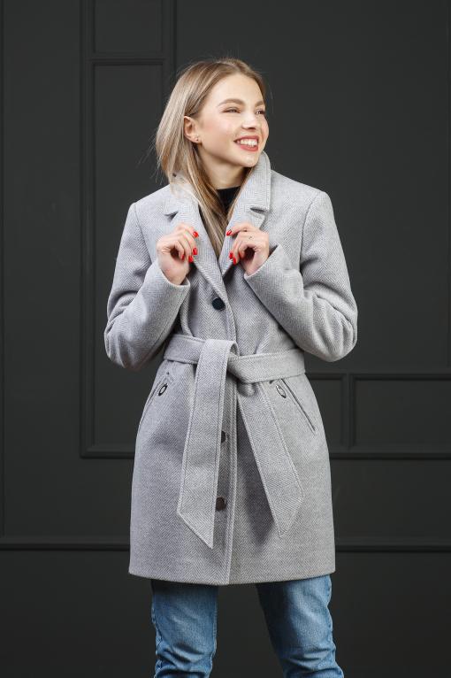 Весеннее пальто Парма ёлочка серая