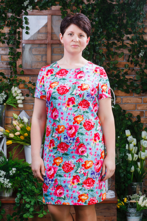 Стильное женское платье из стрейч-коттона голубое п-6190