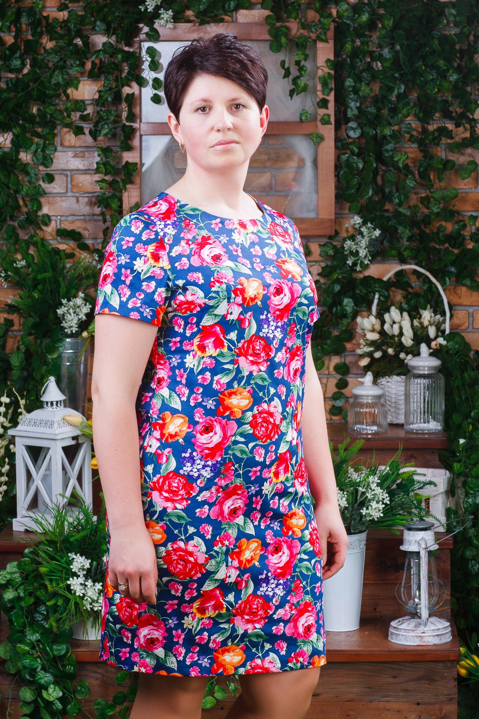 Стильное женское платье из стрейч-коттона синее п-6192