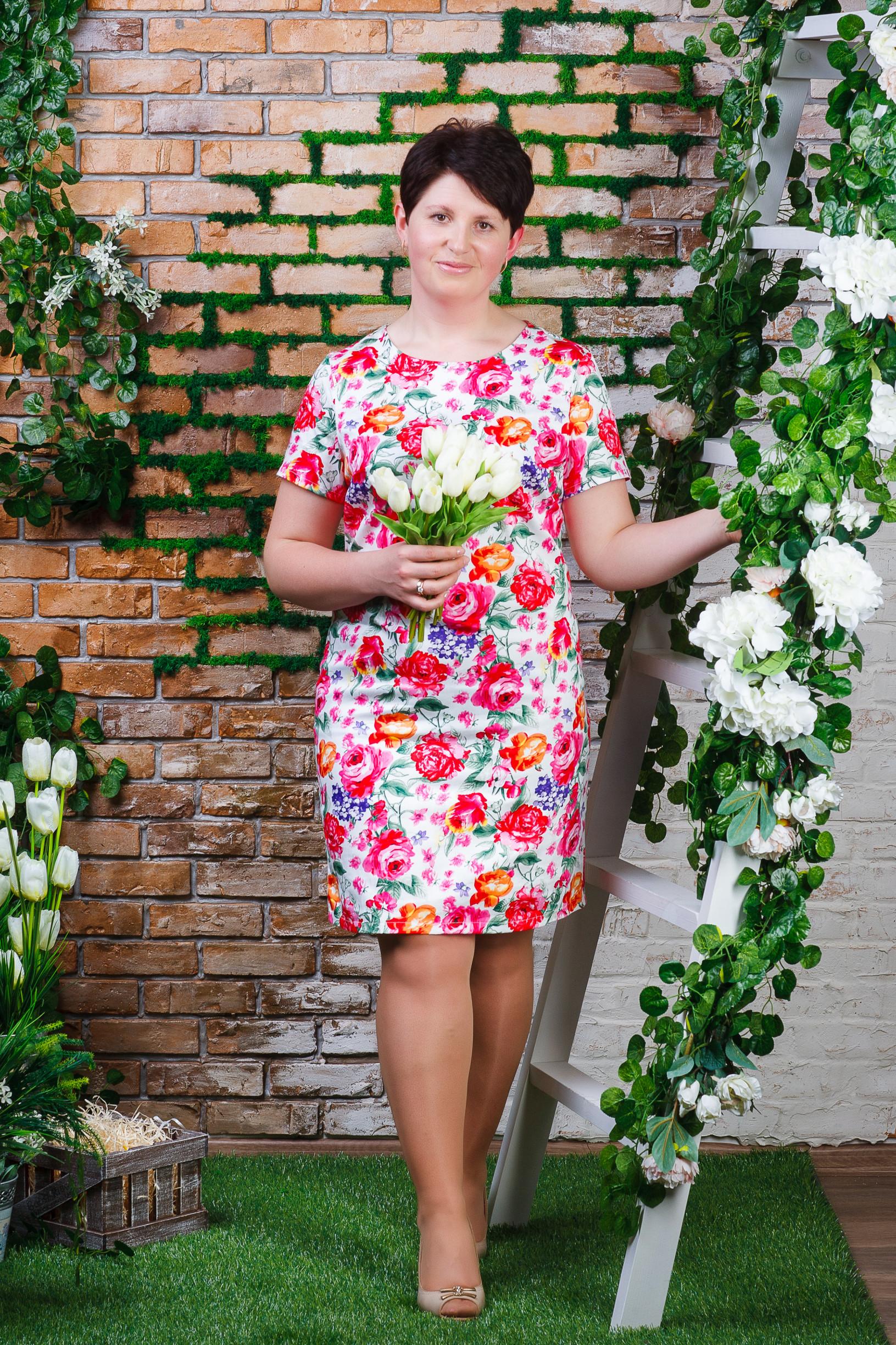 Стильное женское платье из стрейч-коттона белое п-6193