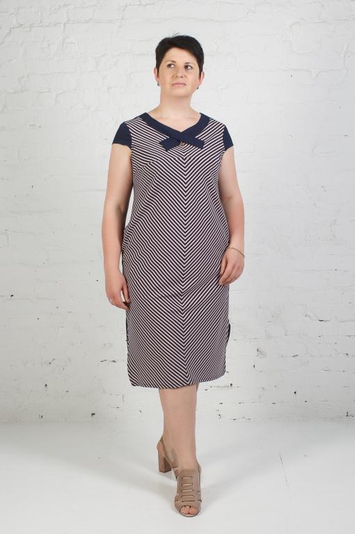 Стильное платье п-772 пудра-серый