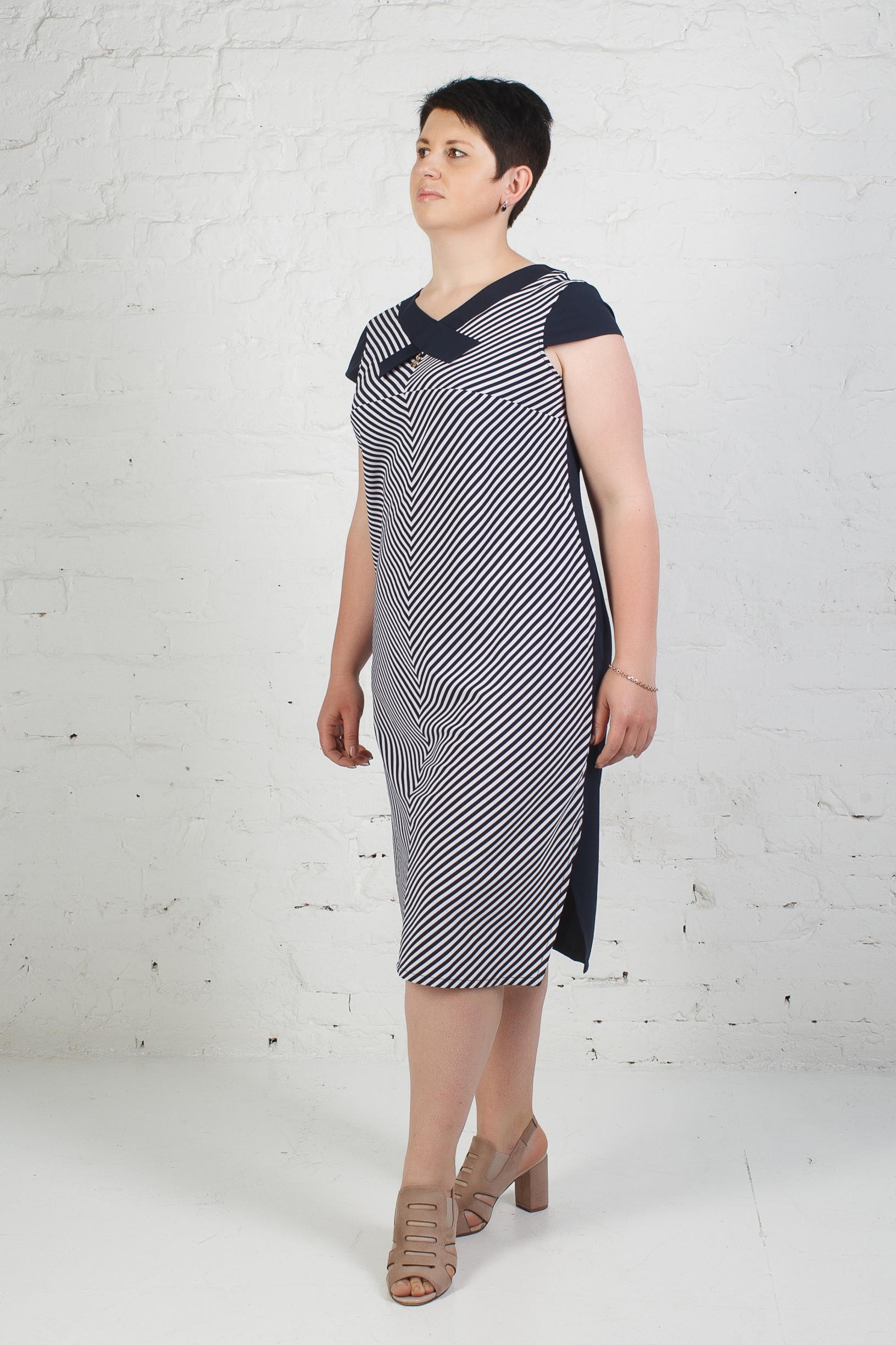 Стильное платье п-772 сине-белая полоска