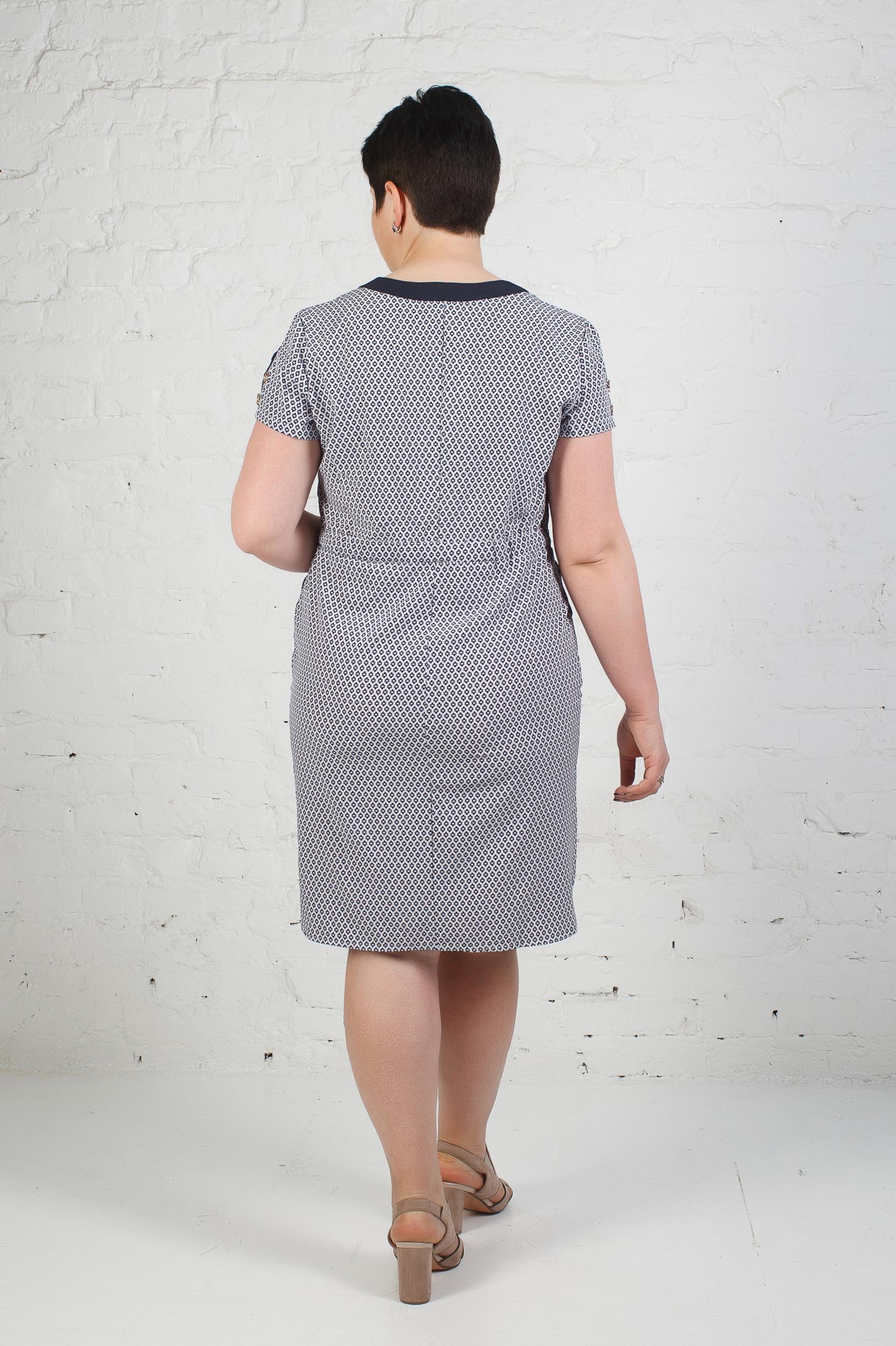 Стильное платье из софта п-638 ромбик