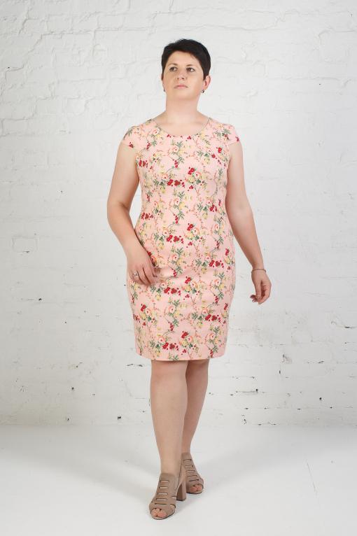 Женское платье из стрейчевого льна п-658 мелкий цветочек