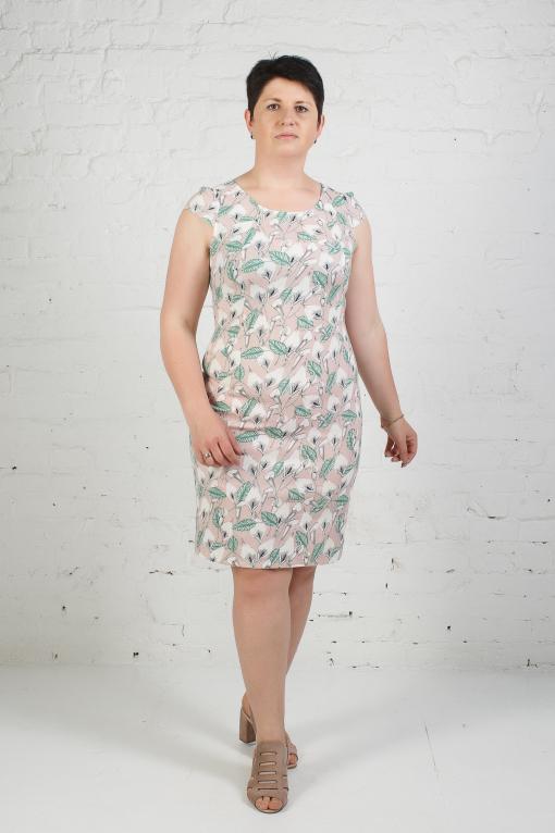 Женское платье из стрейчевого льна п-658 лилии на пудре
