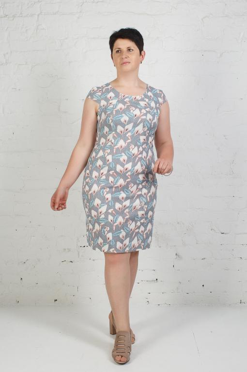 Женское платье из стрейчевого льна п-658 лилии на сером