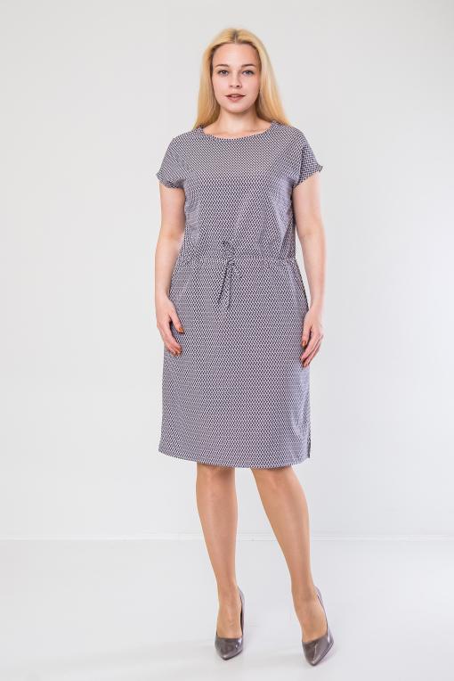 Стильное платье из софта п-467 ромбик
