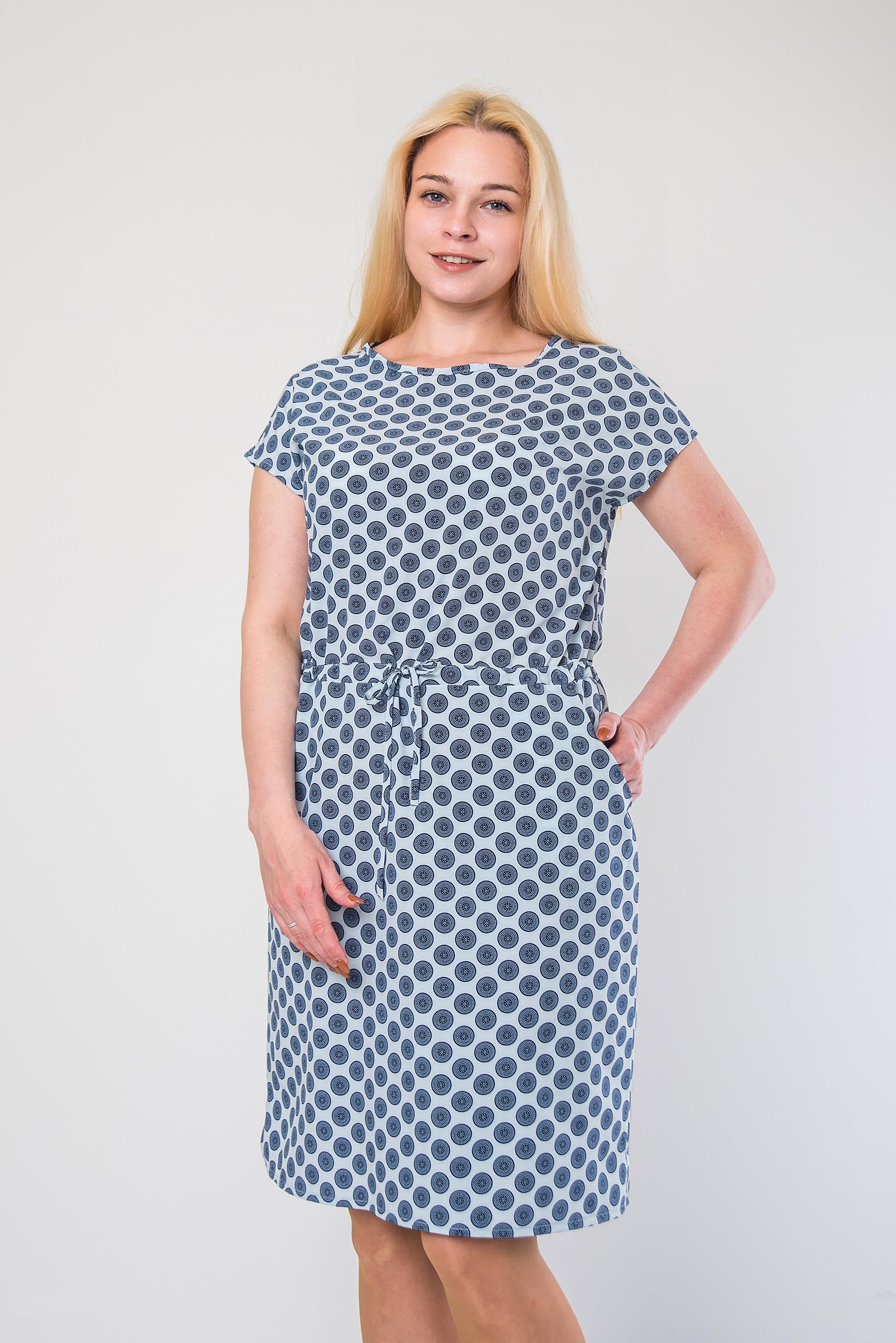 Стильное платье из софта п-467 горох