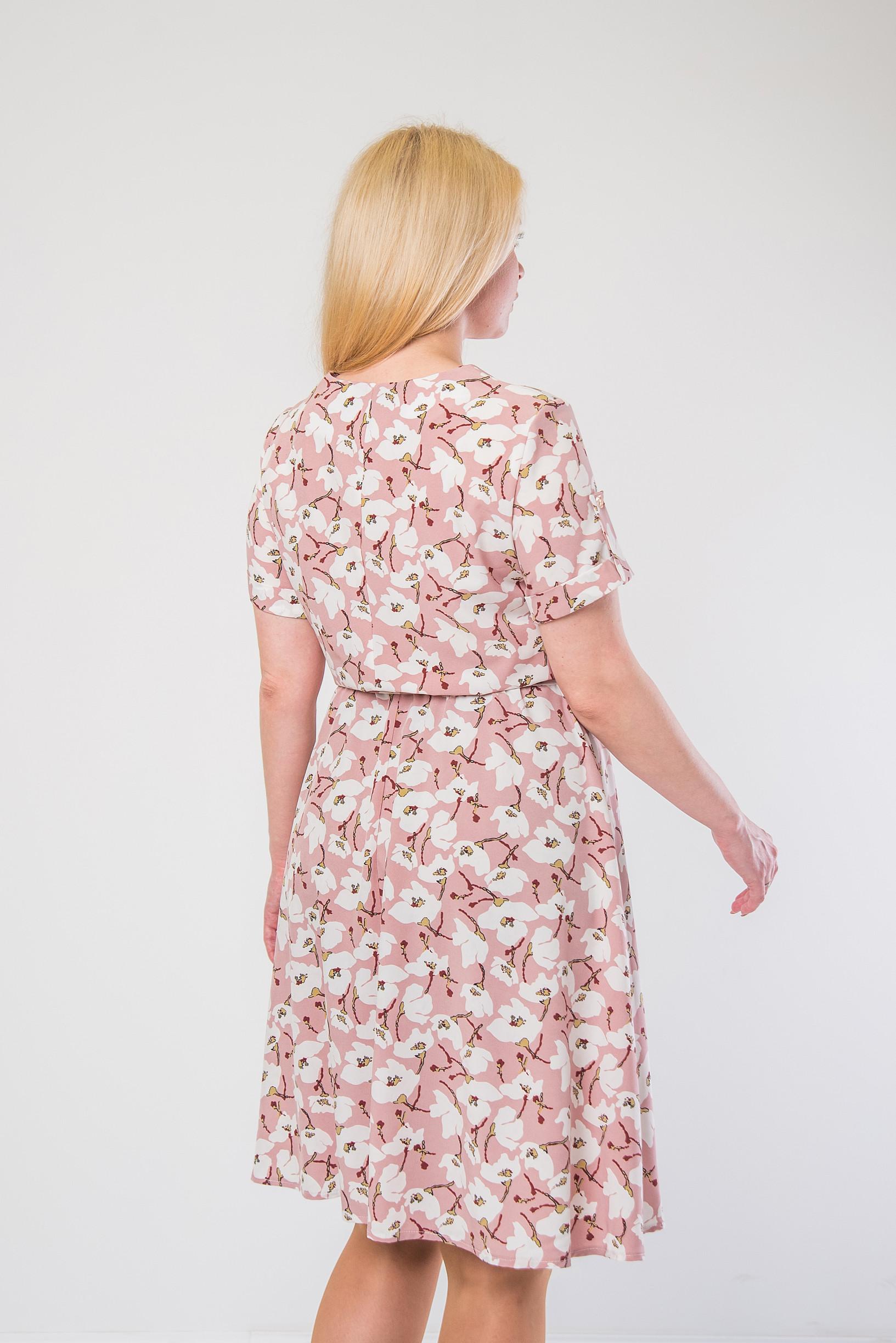 Нежное платье из софта п-897 розовое