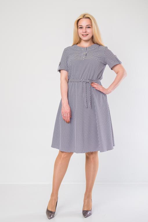 Нежное платье из софта п-897 горох