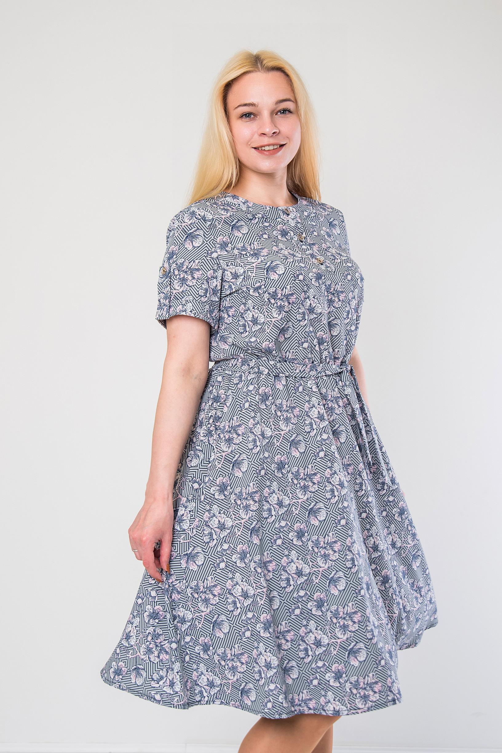 Нежное платье из софта п-897 серое