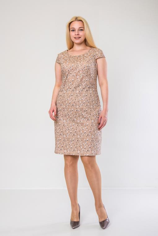 Лёгкое платье-футляр из стрейч-котона п-658 бежевое
