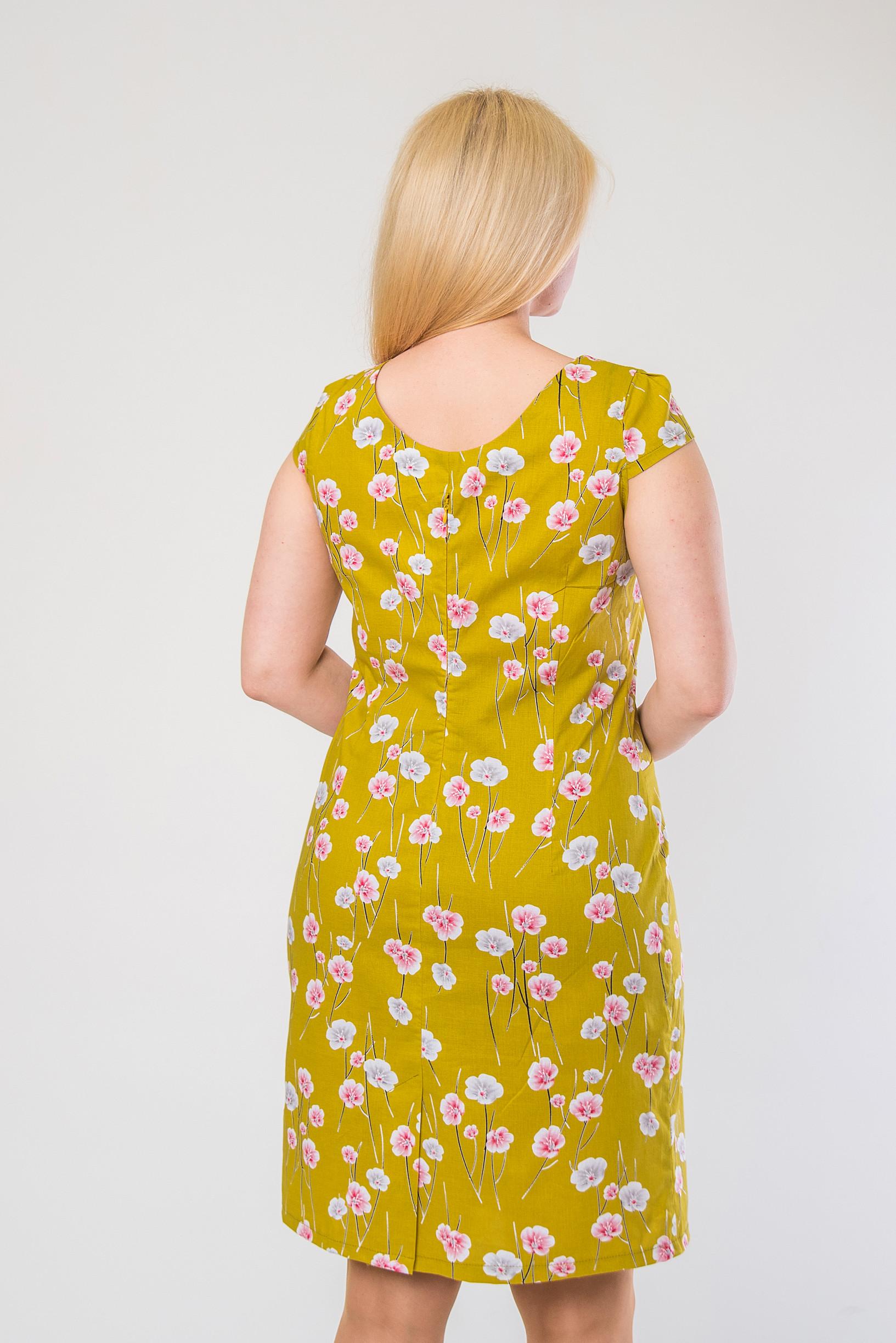 Лёгкое платье-футляр из стрейч-котона п-658 салатовое
