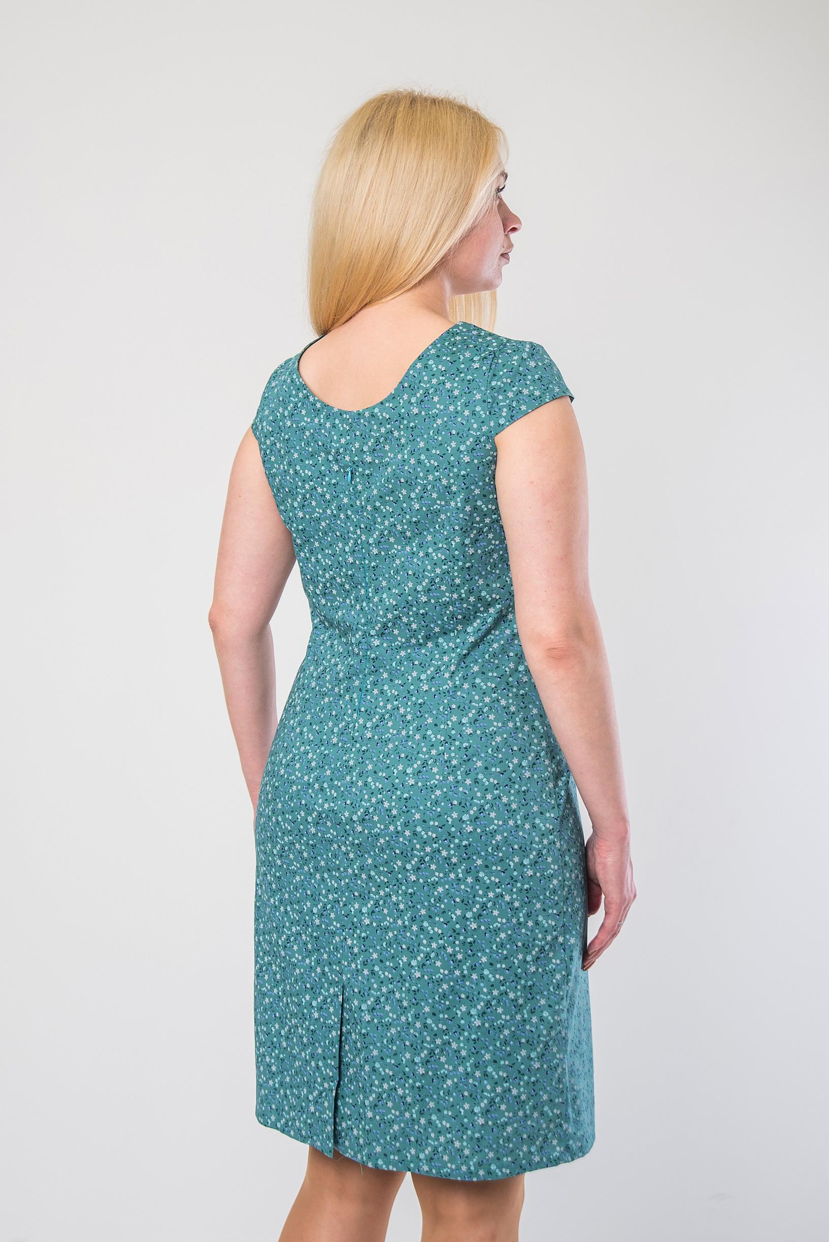 Лёгкое платье-футляр из стрейч-котона п-658 бирюза