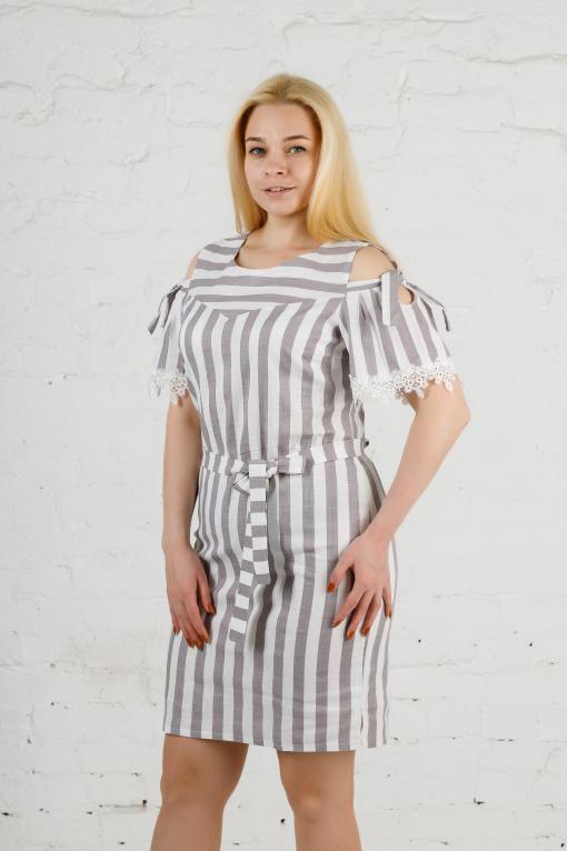 Женское льняное платье в полоску п779 серое