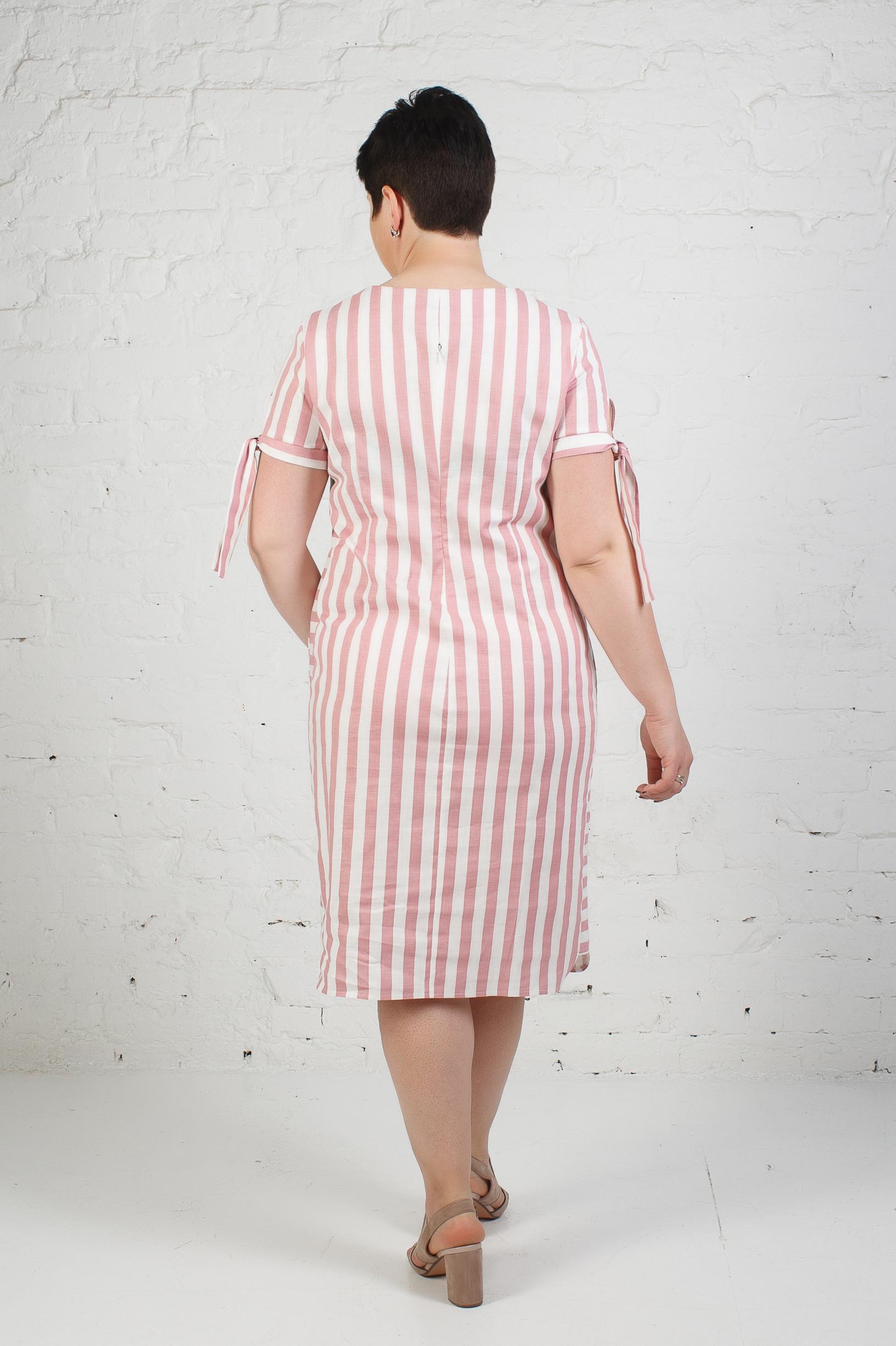 Женское льняное платье в полоску п777 пудра