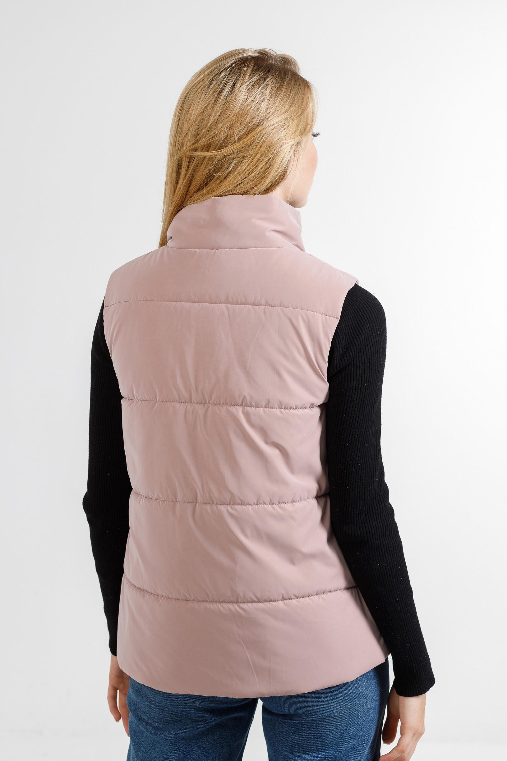 Женская безрукавка Фенди из велюрной плащёвки розовая
