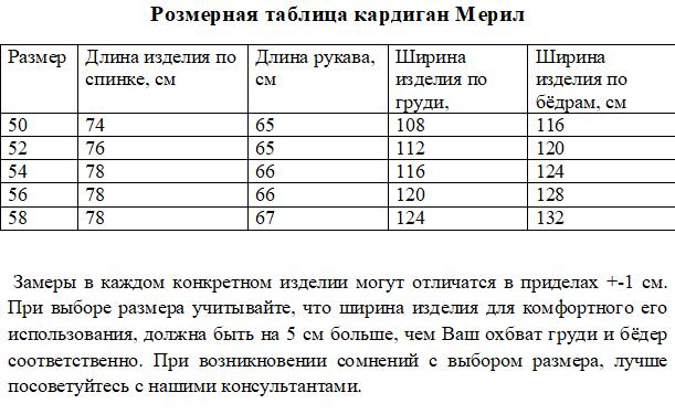 Размерная таблица кардиган Мерил