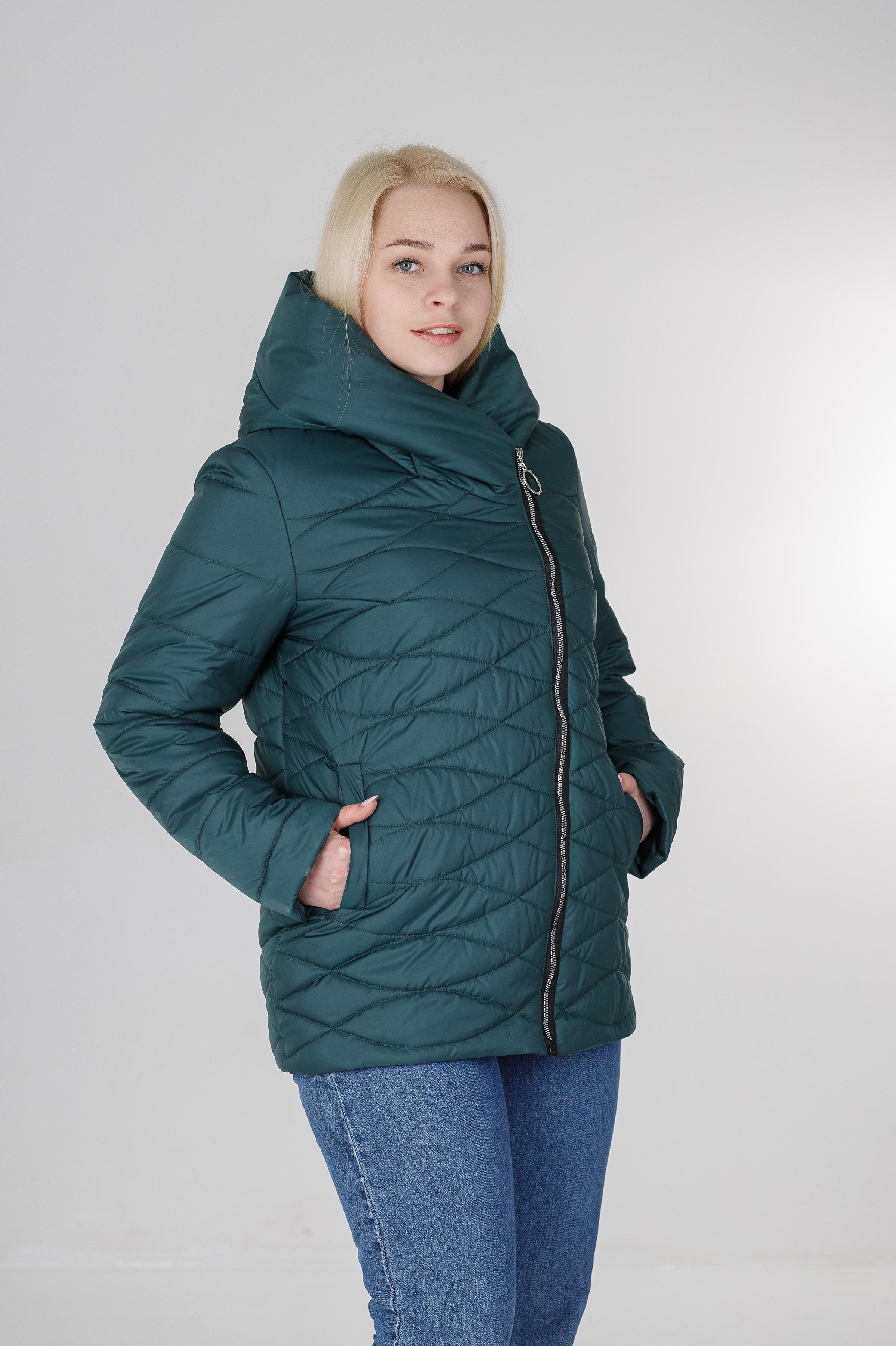 Ассиметричная демисезонная женская куртка Надин бирюзовая